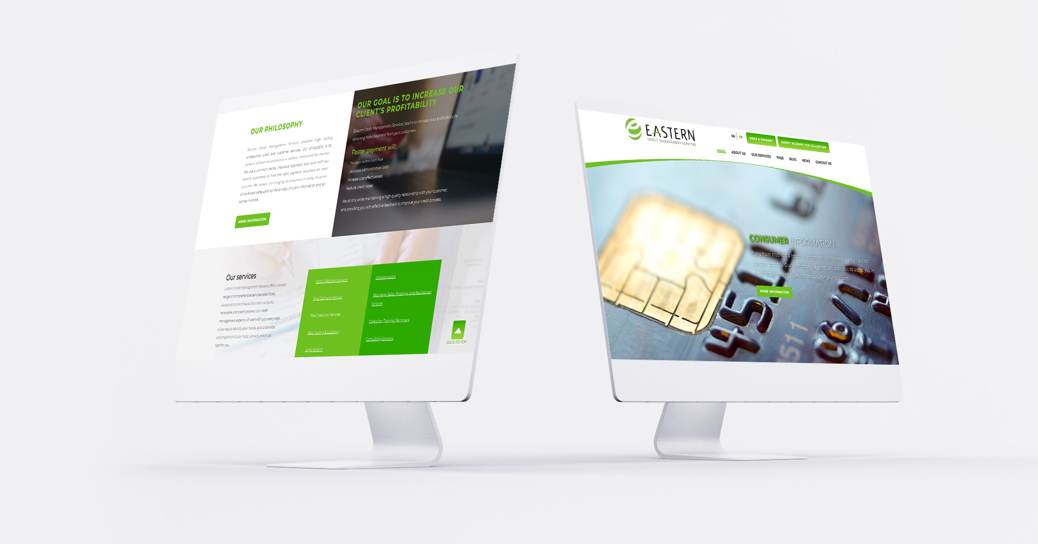 Eastern Credit website on two computers