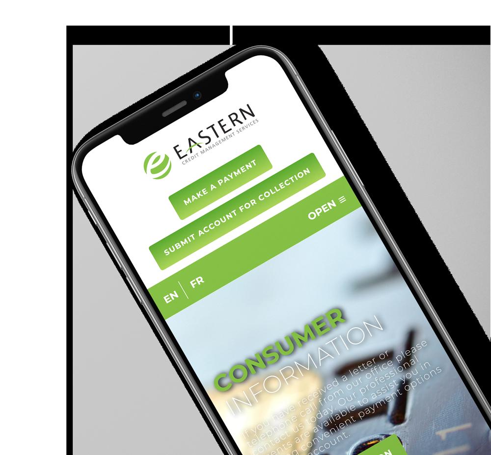 Eastern Credit mobile website on phone